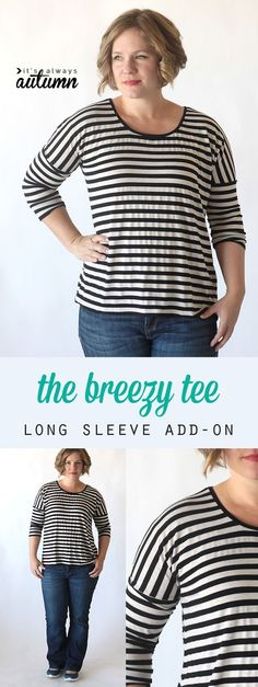 the breezy tee long sleeve add-on {free sewing pattern} - It's Always Autumn