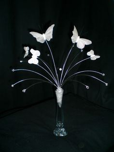 Crystal & butterfly spray wedding table centrepiece