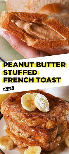 Peanut Butter Stuffed French Toast = Our Weekend Brunch Plans Delish Sweet Breakfast, Breakfast Dishes, Breakfast Recipes, Dessert Recipes, Desserts, Breakfast Ideas, Toast Hawaii, French Toast Casserole, Breakfast Casserole