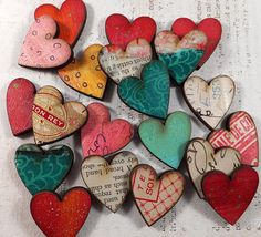10 HANDPAINTED HEARTS by Helga by ARTchixStudio on Etsy, $10.00.  These would make really cute magnets!