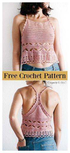 10 Free Crop Top Crochet Patterns For Summer Racer Back Camisole F. - 10 Free Crop Top Crochet Patterns For Summer Racer Back Camisole Free Crochet Pattern - Crochet Crop Top, Crochet Blouse, Crochet Tops, Crochet Baby, Crochet Bikini, Irish Crochet, Patron Crochet, Crochet Cover Up, Crochet Style