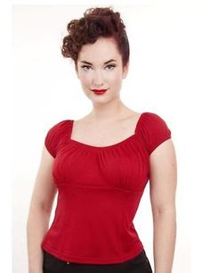 Steady-Clothing-Red-PEASANT-top-pinup-retro-rockabilly-punk-4X-Plus-size