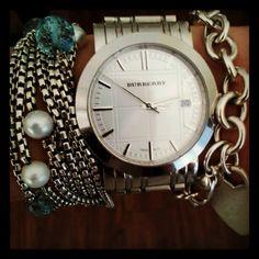 Every girl loves alittle arm candy! #bracelets #watch #armcandy #armswag #jewelry #DavidYurman #Burberry #Tiffany