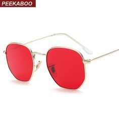 Peekaboo small square sunglasses men gold thin metal frame blue green  tinted red sun glasses for women ce42be829c