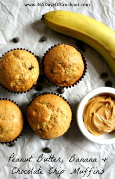 Peanut butter banana chocolate chip muffins...all the best things combined into one muffin.  I make mine with whole wheat flour too.   #muffins #peanutbutter #banana