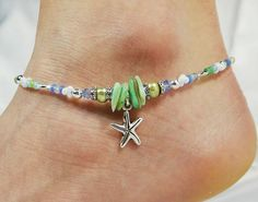 Anklet Ankle Bracelet Starfish Anklet by ABeadApartJewelry on Etsy - Beach Jewelry Ankle Jewelry, Ankle Bracelets, Beaded Bracelets, Jewlery, Starfish Bracelet, Foot Bracelet, Beach Anklets, Beach Jewelry, Metal Beads