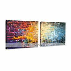 olieverfschilderijen set van 2 moderne abstracte kleur bakstenen met de hand beschilderd doek klaar om op te hangen - EUR € 91.99