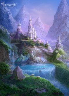 Summer residence of the Fruit royal court by cornacchia-art on DeviantArt Fantasy City, Fantasy Castle, Fantasy Places, Fantasy World, Fantasy Landscape, Landscape Art, Royal Court, Fantasy Setting, Animes Wallpapers