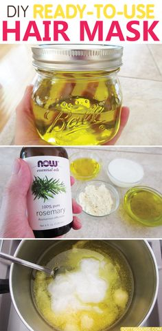 This easy to make DIY ready-to-use hair mask is made from coconut oil, olive oil, cocoa butter, jojoba oil, and rosemary essential oil. All of which are amazing for healthy hair and a healthy scalp! It left my hair feeling moisturized, bouncy, and shiny! Check it out: http://dottielouise.com/blog/diy-ready-to-use-hair-mask