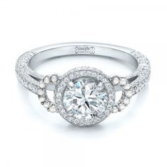 White Pearl and Diamond Halo Engagement Ring by Joseph Jewelry