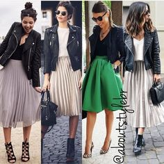 Line plusee skirt pleated skirt outfit, casual skirt outfits, edgy outf A Line Skirt Outfits, Casual Skirt Outfits, Mode Outfits, Chic Outfits, Spring Outfits, Fashion Outfits, Womens Fashion, Black Pleated Skirt Outfit, Skirt Pleated