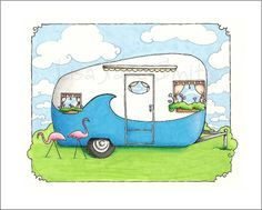 Camper in blue with flamingoes print by LisaJaneSmith on Etsy, $12.00