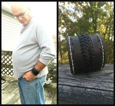Men's Wide Bracelet  Black Leather Bracelet for men by CJWPARACORD