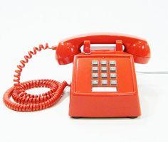 Vintage Hotel Phone ORANGE Upcycled push button by ohiopicker, $88.00