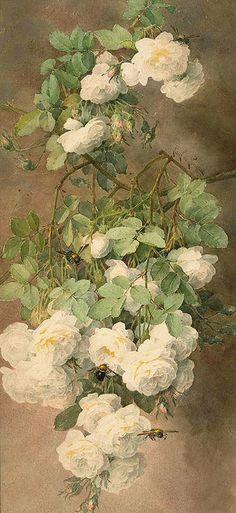 Paul de Longpré  'White Roses and Bumblebees' c.1900 by Plum leaves, via Flickr