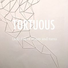 Tortuous |ˈtôrCH(o͞o)əs| late Middle English origin via Old French from Latin tortuosus, from tortus 'twisting, a twist,' from Latin torquere 'to twist.'  .  .  #beautifulwords #wordoftheday #tortuous #twists #turns #thread #needle #sewing #texture #faded #web #art #breezeart #브리즈아트페어