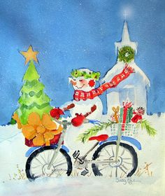 Suzy 'Pal' Powell Watercolors and Collages can be made into cards  Christmas Morning