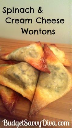 Easy Spinach and Cream Cheese Wonton Recipe YUM! These look so delish I Love Food, Good Food, Yummy Food, Tasty, Vegetarian Recipes, Cooking Recipes, Healthy Recipes, Spinach Recipes, Cooking Tips