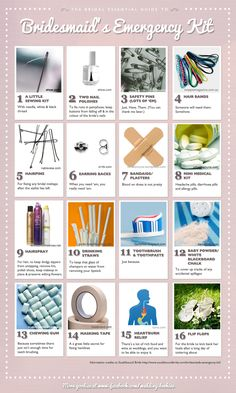 Bridal Essential Guides - Bridesmaid's Emergency Kit    #wedding