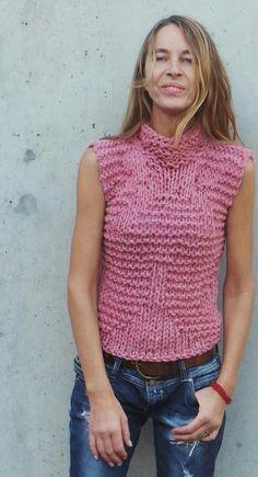 womens pink tank pink vest pink sweater Pink Bamboo by ileaiye