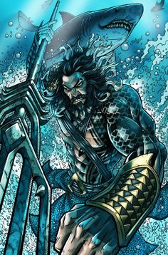 Aquaman (Arthur Curry) - Atlantean/Human Hybrid - art by Darren Tibbles - DC Comics - Visit to grab an amazing super hero shirt now on sale!