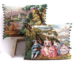 PAIR French Vintage Needlepoint Silks Tapestry by Retrocollects £85 https://www.etsy.com/shop/Retrocollects