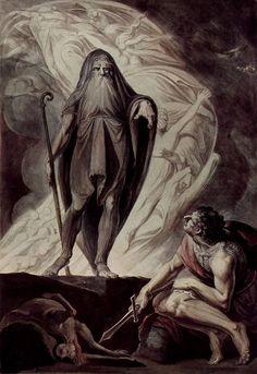 """Henry Fuseli, """"Teiresias Foretells the Future to Odysseus,"""" 1780-1785."""