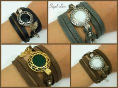 Wrapped Leather Bracelet With Dominant Middle Stone , Fatima's Hand , Leather Wrap Bracelet