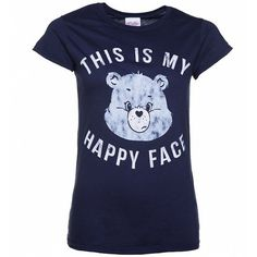 Women's Care Bears Grumpy Bear This Is My Happy Face T-Shirt ($24) ❤ liked on Polyvore featuring tops, t-shirts, retro t shirts, bear tee, retro tees, fur top and retro tops