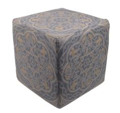 """Chain stitch is an ancient craft that can form flowing, curved lines that mimic """"drawing"""" in thread. Momeni's Chainstitch Ottomans are a beautiful accessory at 16""""x16"""" of 100% wool with a sturdy wooden base this accessory fits perfectly in to any setting. Matching pillow available."""