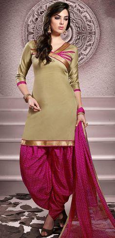USD 20.13 Beige Cotton Patiala Salwar Kameez 43455