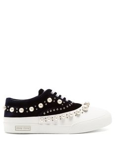 Miu Miu Faux Pearl-embellished Velvet And Rubber Trainers In Blue White Navy Trainers, Sneakers Fashion, Shoes Sneakers, Saddle Shoes, Princess Shoes, Silver Logo, Plimsolls, Miu Miu, Me Too Shoes