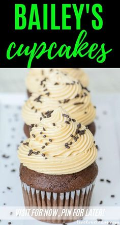 Forget plain old cupcakes. Take your dessert game to the next level with this chocolate Bailey's Irish Cream Cupcakes recipe with Bailey's Buttercream Frosting. Homemade Chocolate Cupcakes, Chocolate Baileys, Chocolate Recipes, Chocolate Cakes, Easy Cupcake Recipes, Cupcake Flavors, Dessert Recipes, Baileys Irish Cream Cupcakes Recipe, Dessert Games