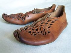 Leather shoes inspired by a pair from an Iron age bog