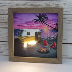 Excited to share the latest addition to my #etsy shop: Tropical Escape, vintage camping scene, led lights, framed art, lightbox, Happy Camper line Lightbox, Happy Campers, Framed Art, Stained Glass, Original Art, Curly, Tropical, Scene, Camping