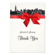 NYC Wide Skyline Etched BW Red Thank You Invitations