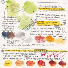 This reminds me of my grandmother in so many ways (down to the handwriting). Makes me want to dive into watercolour experimentation… xox P.S. Source