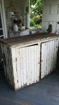 I salvaged a very similar piece like this from a garage. They were going to throw it away! Cleaned mine up, it's my kitchen island! Primitive Furniture, Farmhouse Furniture, Rustic Furniture, Vintage Furniture, Painted Furniture, Furniture Refinishing, Primitive Decor, Woodworking Furniture, Shabby Chic Kitchen