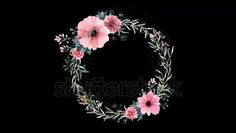 Flower Wreath or border with transparent background