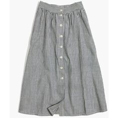 MADEWELL Palisade Button-Front Midi Skirt in Chambray Stripe ($98) ❤ liked on Polyvore featuring skirts, chambray stripe, midi skirt, white midi skirt, stripe skirts, white knee length skirt and shiny skirt