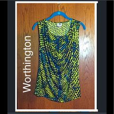 "Green sleeveless drape neck top Bright beautiful colors! Drapes lovely in the front. Cool, comfy, stretch material. Worn only a couple times. From Worthington. Perfect condition! Shoulder to hem length (without stretching) = 22"". Worthington Tops Blouses"