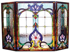 "Victorian Style Stained Glass 3 Panel Fireplace Screen 44"" Wide Handcrafted New"