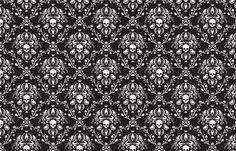 wallpaper Black and White Skull Damask fabric by elizabeth on Spoonflower - custom fabric