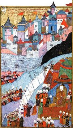 Turkish miniature on the occupation of Buda by Suleiman in 1541. From the chronicle of Seyyid Lokman.