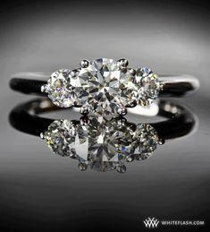 Triple diamond with platinum band