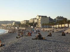 on the beach in Nice, France