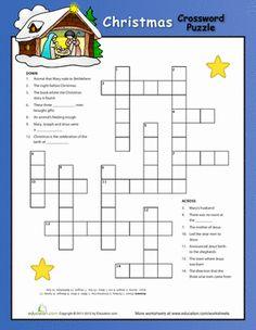 Fourth Grade Holidays & Seasons Worksheets: Christmas Nativity Crossword Puzzle