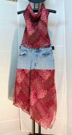 Recycled Denim Jean Skirt and Top Outfit  by creationsbykimmills, $30.00