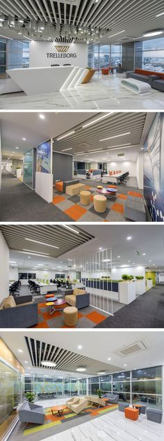 Office Interior Space Design-Trelleborg Office Layout - Home Decoration Office Space Design, Modern Office Design, Workspace Design, Office Workspace, Office Interior Design, Modern House Design, Modern Offices, Lobby Interior, Office Designs