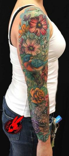 tattooblend.com wp-content uploads 2015 11 bird-full-sleeve-floral-tattoo1.jpg